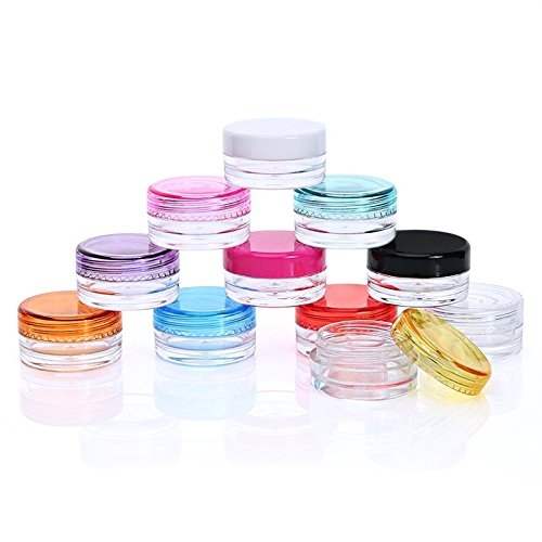Healthcom 3 Gram Plastic Pot Jars 3 ML Jar Cosmetic Containers Sample Empty Container Clear Plastic Refillable Containers with Colorful Screw Cap Lids,50 Pcs (Container Sample Tiny)