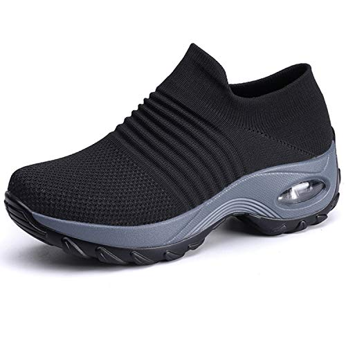 Scurtain Walking Sneakers for Womens Slip-on Knit Comfortable Work Nurse Shoes Black 5.5 M US