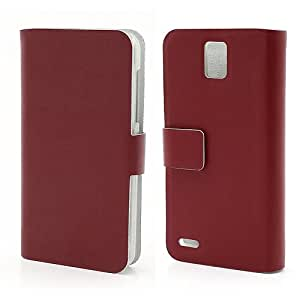 Smays Genuine Leather Card Holder Case with Stand for Huawei Ascend D1 U9500 (Red)