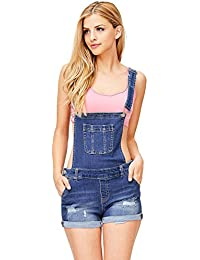 Women's Juniors Cute Denim Overall Shorts