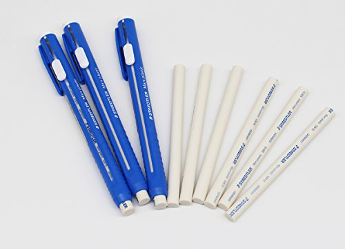 (STAEDTLER Stick Eraser Set - Mars plastic 528 50 Pen Shape Eraser 3set + Refills 6pieces / Solid eraser with little residue/Length adjustable body/German brand)