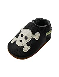 Sayoyo Baby Skull Soft Sole Black Leather Infant and Toddler Shoes