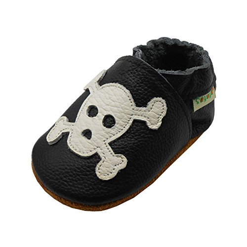 Sayoyo Baby Skull Soft Sole Black Leather Infant and Toddler Shoes ()