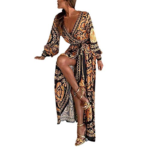 - Rambling Sexy Womens Long Sleeve Deep V Neck Dress Boho Printed Cocktail Prom Gown Dress Yellow