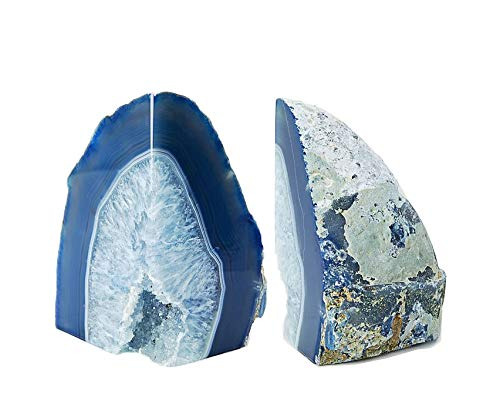 Dream Gem: Polished Agate Stone Bookends Pair (Blue, 3-4LBS)