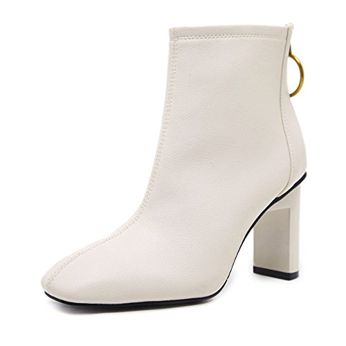 Leather Simple White Boots High Womens Ankle Style PU Heel p5BRqR