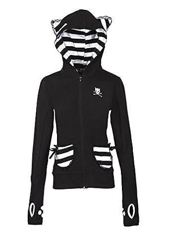 Womens Black and White Kitty Cat Full Zip Hoodie Sweater – Size Large - Cat Womens Zip Hoodie