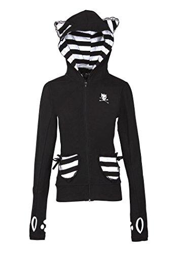Womens Black and White Kitty Cat Full Zip Hoodie Sweater – Size Medium Kitty Zip Hoodie