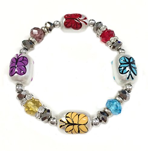 Linpeng Glass Pearl Butterfly Painted Beaded Bracelet, White/Multicolor