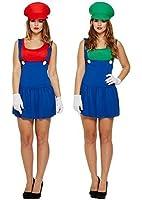 Déguisement Costume Couples Femmes Super Mario ET Luigi Plombier Années 80