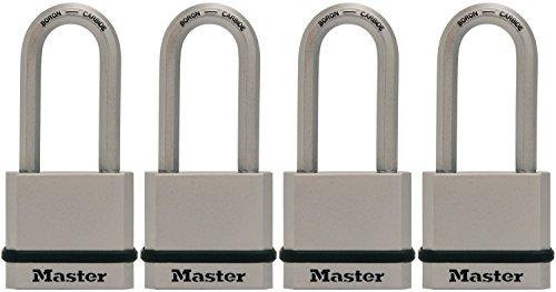 Master Lock Padlock, Magnum Solid Steel Lock, 1-3/4 in. Wide, M530XQLH (Pack of 4-Keyed Alike)
