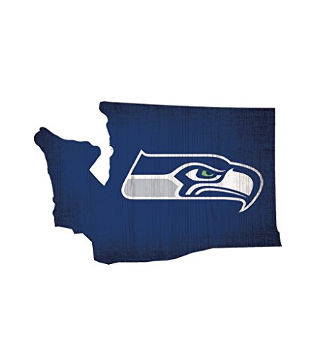 Fan Creations Seattle Seahawks Wood Sign 12 Inch State Shape Design -