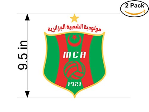fan products of Mouloudia Club Alger MCA Algeria Soccer Football Club FC 2 Stickers Car Bumper Window Sticker Decal Huge 9.5 inches