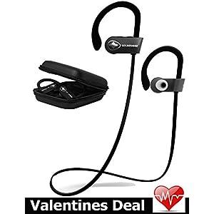 Wireless Bluetooth Running Headphones - SoundWhiz Noise Cancelling Waterproof Workout Earbuds - w Mic & Siri. Best Sport Headphones 8 Hours Play