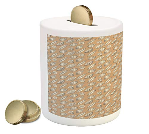 Ambesonne Cocoa Piggy Bank, Earth Tones Exotic Food Fruit Seeds with Leaves Agriculture Gardening Theme, Printed Ceramic Coin Bank Money Box for Cash Saving, Pale Coffee Cream