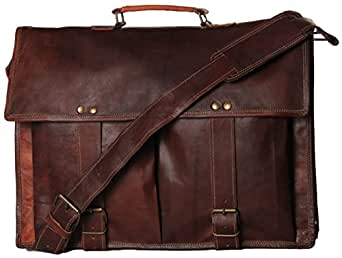 Handmadecart Leather Messenger Bags for Men and Women 15 Laptop Briefcase with Two Pocket Front (17 Inches)