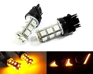 2 bombillas LED ámbar 582 W21W WY21W 580 W21/5W con cuña y luz lateral, indicador de giro, luz de cruce, luz diurna, DRL: Amazon.es: Coche y moto