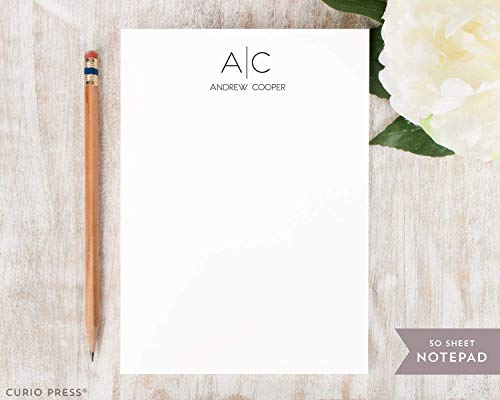 THIN LINE MONOGRAM NOTEPAD - Personalized Professional Stationery/Stationary Note Pad -