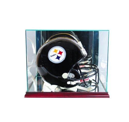 Perfect Cases NFL Rectangle Football Helmet Glass Display Case, Cherry (Size Football Helmet Small)