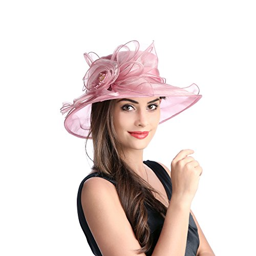 Dantiya Women's Kentucky Derby Racing Horse Organza Hat Church Wedding Dress Party Occasion Cap (Prunosus)