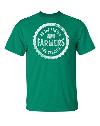 On the 8th Day God Created Farmers | God Made a Farmer Tee | Adult T-shirt (3X Large, Kelly Green)