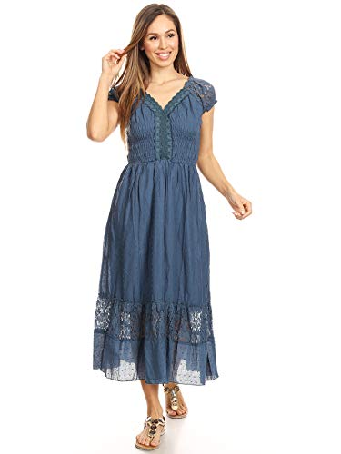 Anna-Kaci Renaissance Peasant Maiden Boho Inspired Cap Sleeve Lace Trim Dress, Blue, XX-Large -