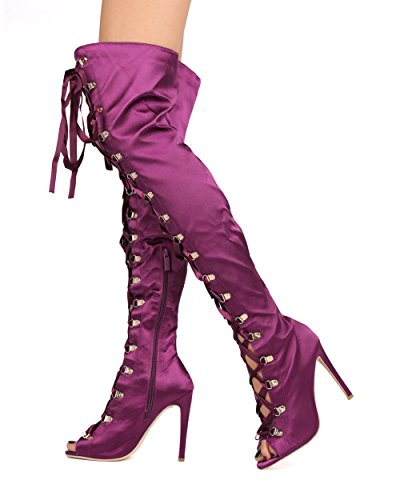 Women Thigh High Stiletto Boot - Peep Toe OTK Corset Heel Boot - Dressy Costume Cosplay Party Sexy Boot - He38 By Elegant Collection - Purple Satin (Size: 10)