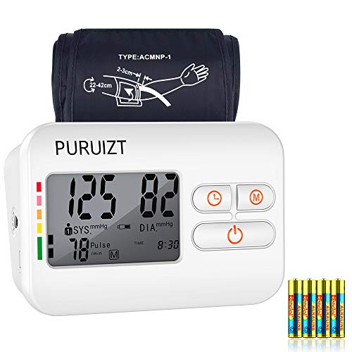 Blood Pressure Monitor Upper Arm, Puruizt Accurate Automatic Digital Blood Pressure Machine with Wide-Range Adjustable Cuff, Large Display and 2×120 Readings Memory Dual Users Mode for Home Use