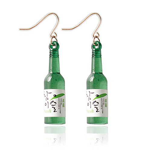 Cute Beer Bottle Soju Pub Party Unique Bottle Dangle Earrings Korea Style Jewelry (Green)