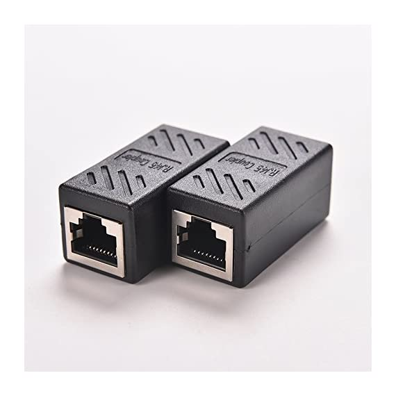 Haitronic 2 pack rj45 coupler ethernet cable coupler lan connector inline cat7/cat6/cat5e ethernet cable extender… 1 usage: this haitronic rj45 coupler extender is very much ideal for extending your home, office, hotel, big project etc... Ethernet cable by connecting 2 male network cables together. Stable performance: we choose high quality pure copper plated contacts and easy snap-in retaining clip, this coupler ensure your secure and corrosion free connection. Fast speed: this 8p8c female to female rj45 connector can speed up to 10 gigabite for connecting cat7/cat6/cat5 ethernet cable.