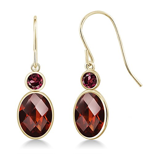 Gem Stone King 3.04 Ct Oval Checkerboard Red Garnet Red Rhodolite Garnet 14K Yellow Gold Earrings