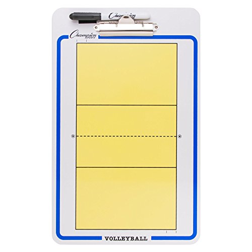 Champion Sports Large Dry Erase Board For Coaching Volleyball - Whiteboards for Strategizing, Techniques, Plays - 2-Sided Boards with Clip - Front Side Full Court - Backside Half Court and Lineup -