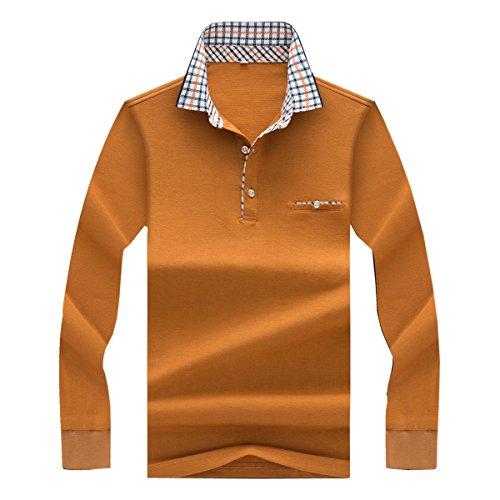 YFFUSHI メンズ ポロシャツ tシャツ ゴルフウェア M-3L 無地 チェック 綿 長袖 全4色 カジュアル お洒落 正規品 上質 フォーマル かっこいい