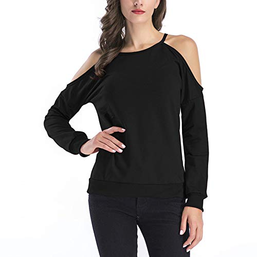 Fashion in Londony ♥‿♥ Women's Vogue 2018 Soft Long Sleeve Casual Cold Shoulder Tunic Tops Loose Blouse Shirts for $<!--$8.38-->