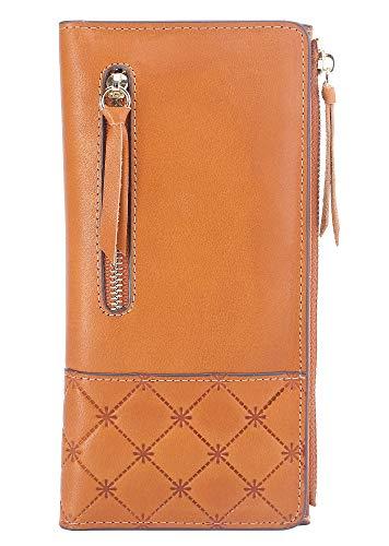 AINIMOER Women's RFID Blocking Large Capacity Luxury Genuine Leather Clutch Wallet Card Holder Organizer Ladies Purse(Vintage Brown) ()