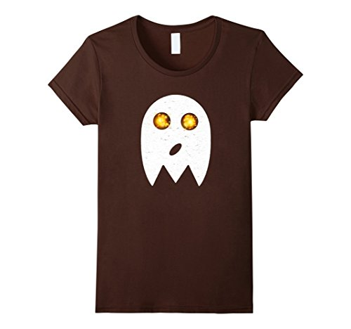 Womens Funny Face Ghost Emoji Simple Easy Halloween Costume Tee Small Brown