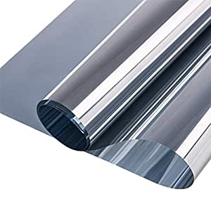RABBITGOO One Way Window Film Anti UV Static Cling Window Film Removable Decorative Heat Control Privacy Glass Tint for Home and Office Windows(44.5 x 200cm,Sliver)