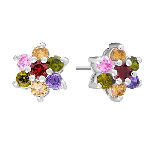 Real Spark(TM) Women Girls 18K Gold Plated Colorful Rhinestones Flower Stud Earrings Fashion Jewelry