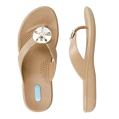 Oka-B Sandy Flip Flop Sandal Shoes by OkaB Color Chai With Sand Dollar Pendant (L)