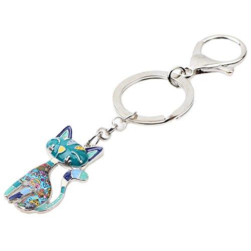 Bonsny Enamel Alloy Chain Cat Key Chains For Women Car Purse Handbag Charms (Blue) by BONSNY (Image #2)