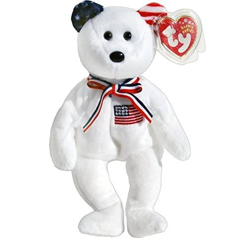 America 911 Memorial White Teddy Bear - Ty Beanie Babies - Retired Beanie Babies