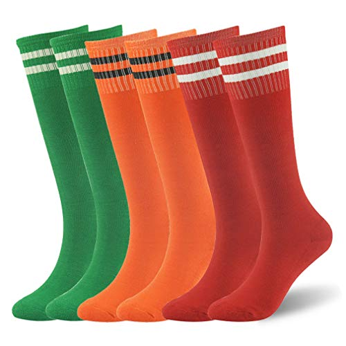 School Soccer Socks, saillsen Youth Novelty Fancy Design Striped Cushioned Football Rugby Baseball Sports Tube Socks for Girls, 6 Pairs, Green & Orange& Red