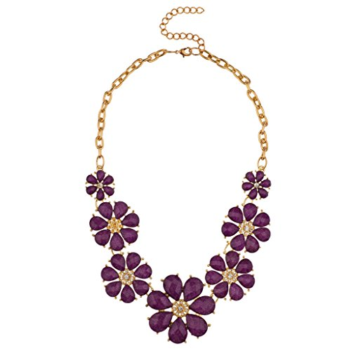 Lux Accessories Gold Tone and Purple Acrylic Flower Floral Statement Necklace (Purple Necklace Tone Gold)