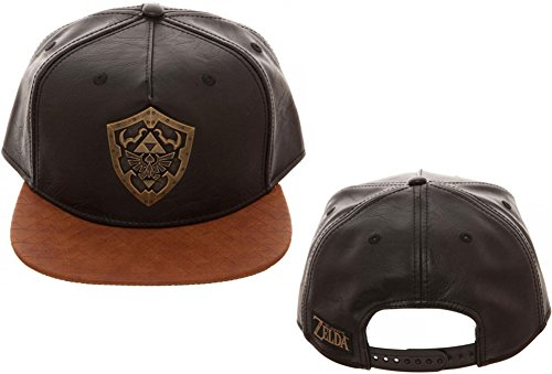 Bioworld Novelty The Legend of Zelda - Metal Shield Snapback Hat , Brown/ Black , One Size
