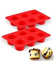 SJ European LFGB Silicone Jumbo Muffin Pan, 6-Cup, Red, 2-