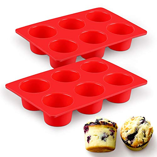 SJ European LFGB Silicone Jumbo Muffin Pan, 2-Pack, 6 Cups 5oz Silicone Egg Cupcake Pans, Red Texas Muffin Pans, Non-Stick & BPA - Muffin Texas