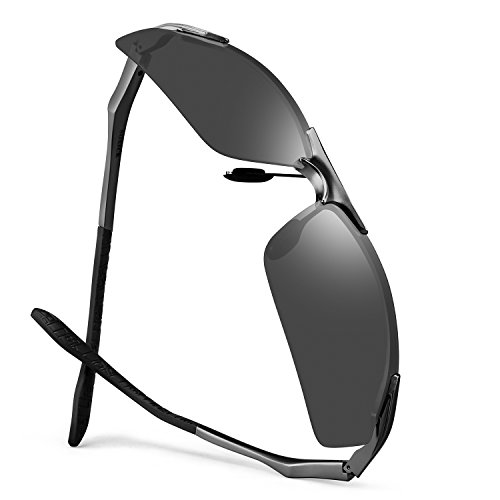 Designer Driving Sunglasses For Men Polarized Metal Frame Golf Fishing Biking Large Head Work Sunglasses by SOXICK