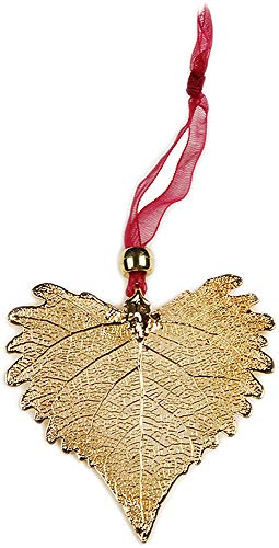 Curious Designs Ornament, Cottonwood Leaves, Gold Plated - Heart Shaped, Actual Leaf