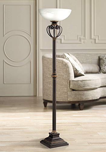 Calistoga Traditional Torchiere Floor Lamp Oil Rubbed Bronze Scrollwork Glass Bowl Shade for Living Room Bedroom Uplight - Franklin Iron Works