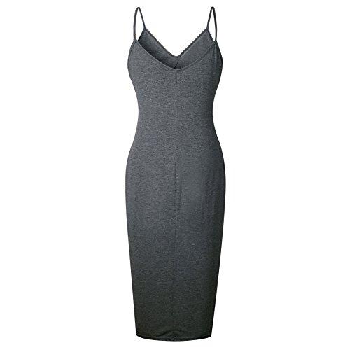 Stylish Dress Grey Sexy Colour Pure Sun Slip Midi Women Dark Split Neck Slim V Coolred gqIHUU